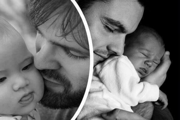 es un collage de un padre abrazando a su bebe