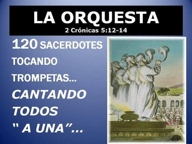Es una grafica que dice La orquesta 120 sacerdotes tocando las trompetas