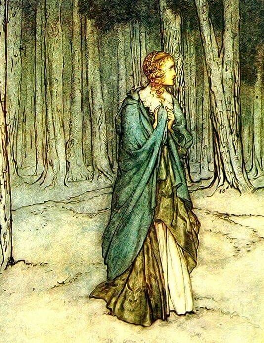 Es una mujer enmedio del bosque