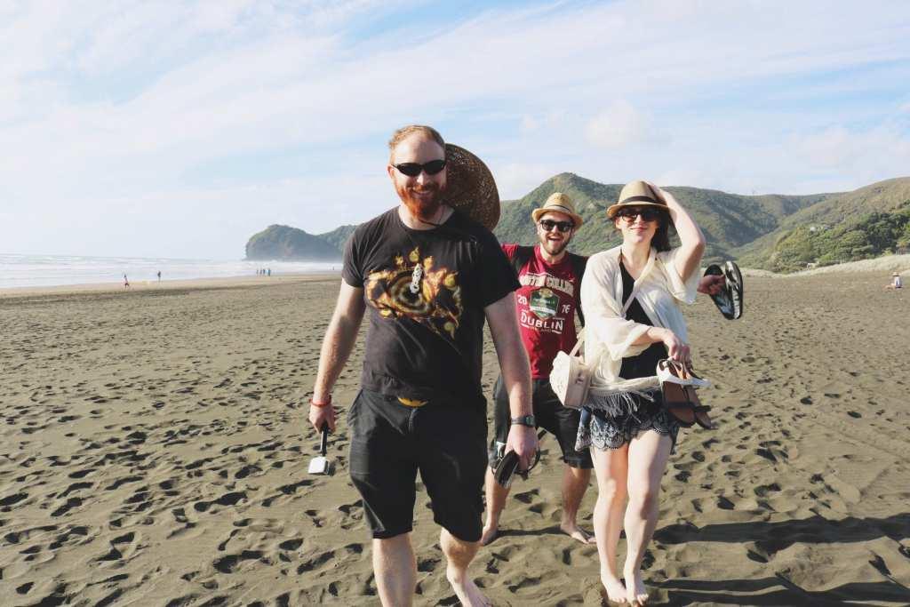 friends at piha beach