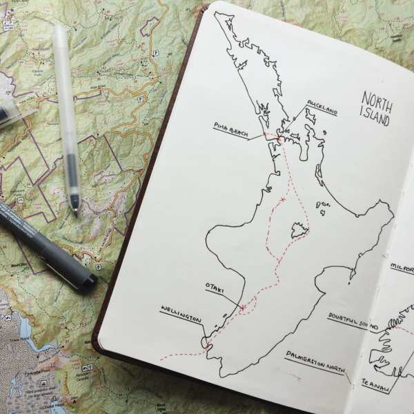 north island new zealand map travel journal route