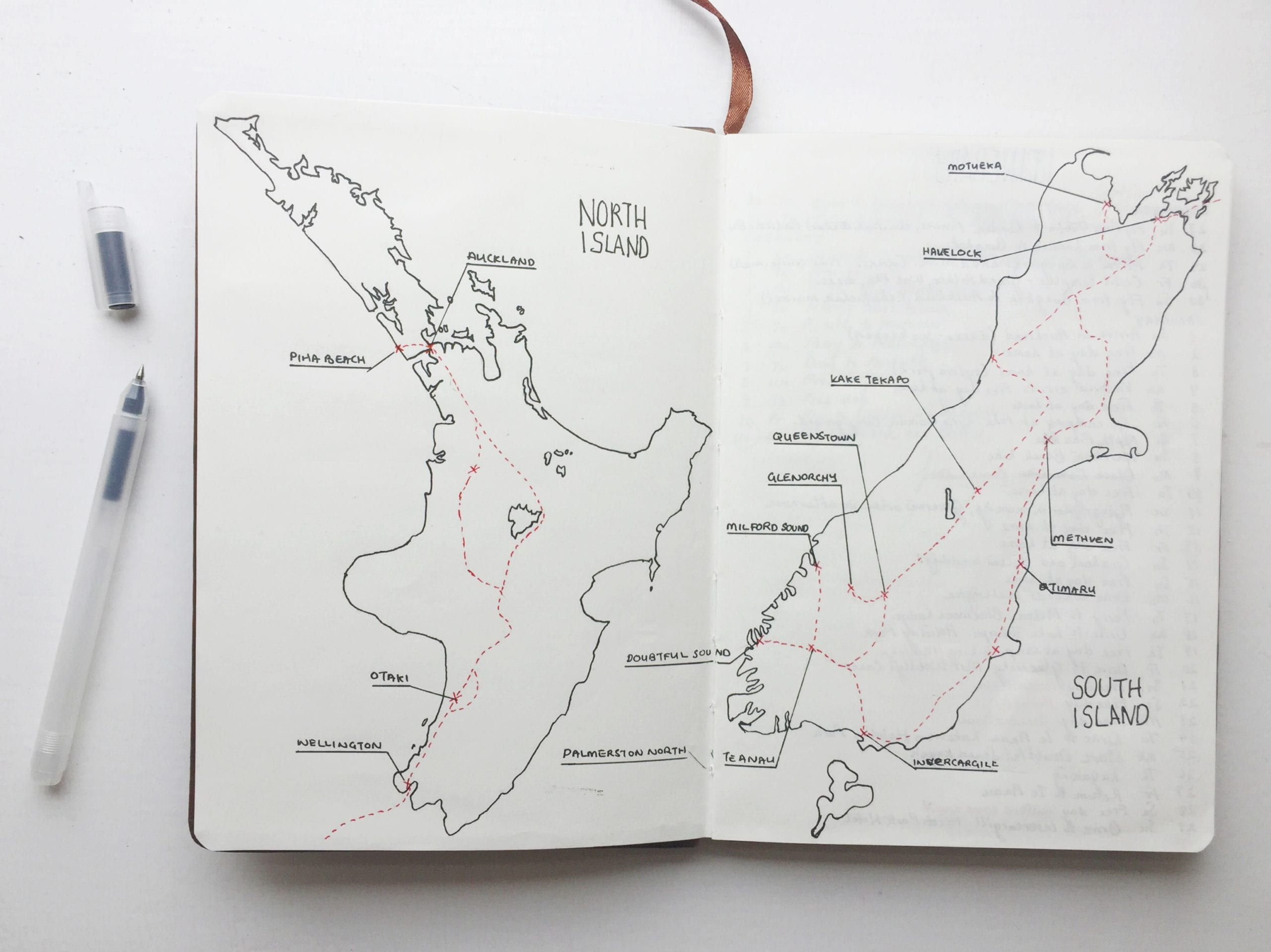 route map new zealand road trip travel journal