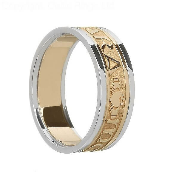 Irish Soul Mate Wedding Ring  Yellow Gold With White Gold