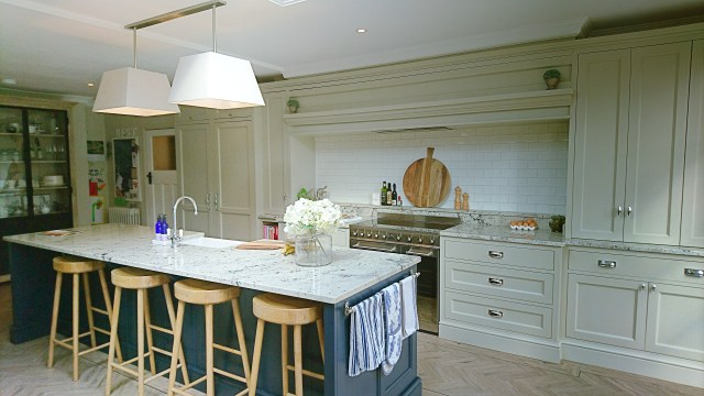 Bespoke kitchen with overmantel and island near Solihull by Celtica Kitchens