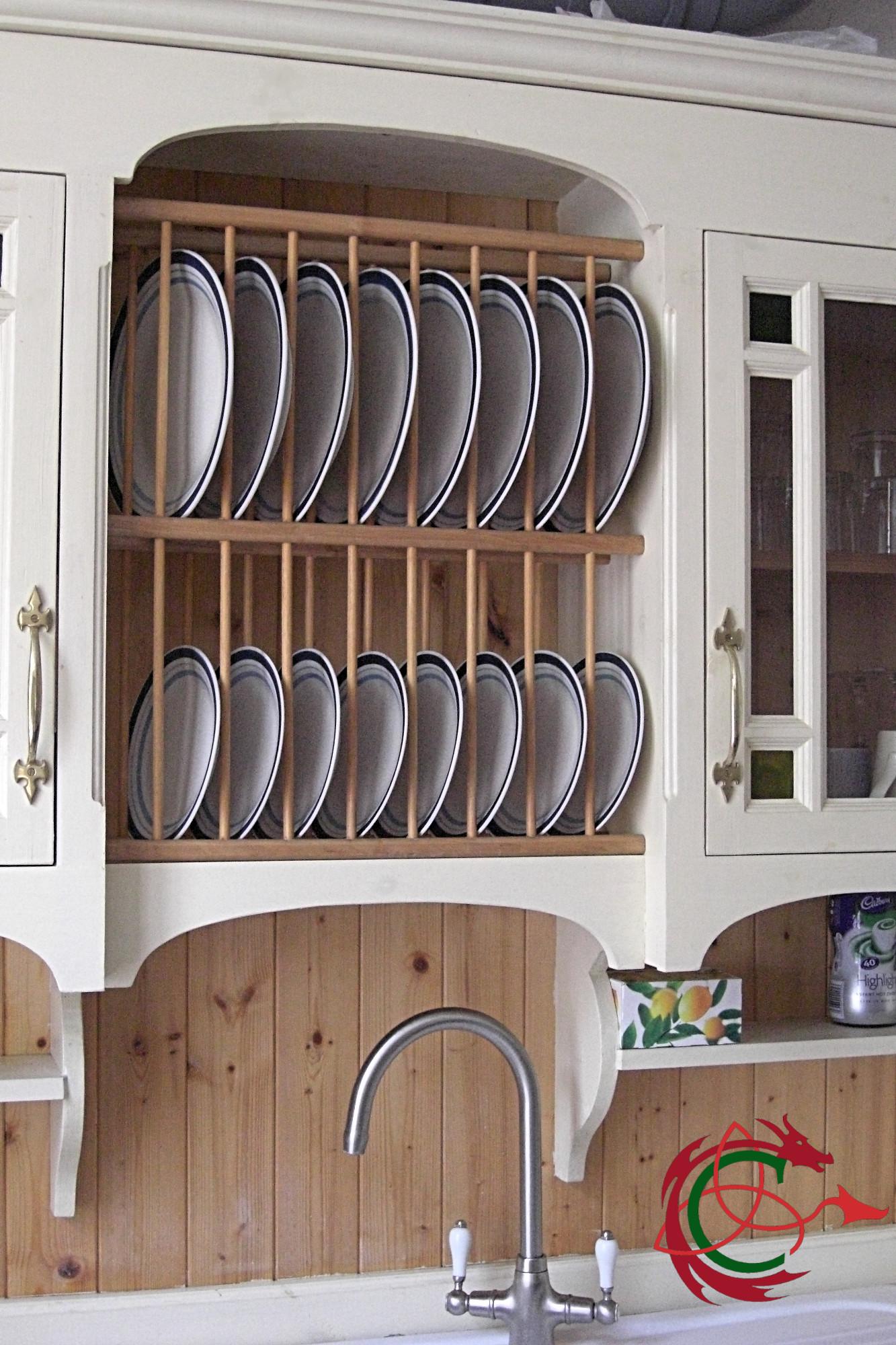 Pontyblodau plate rack in sink dresser, swan neck tap