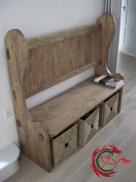 hall bench or settle with curved sides, seagrass baskets underneath