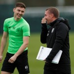 Kieran Tierney talks to Brendan Rodgers