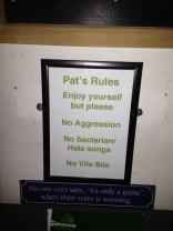 Pat's=Paddy(アイリッシュ)への店内ルール