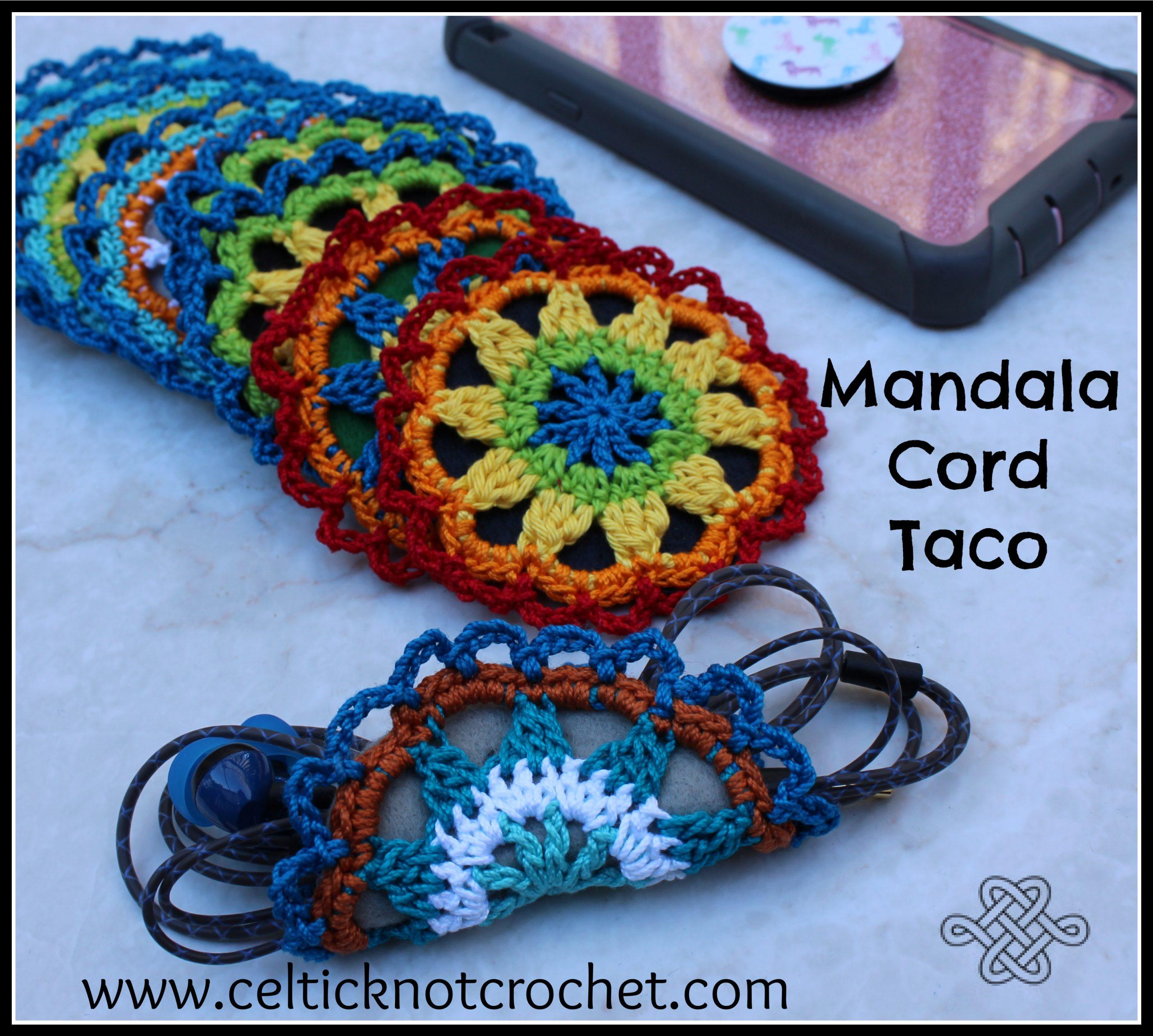 colorful crocheted mandala cord keeper