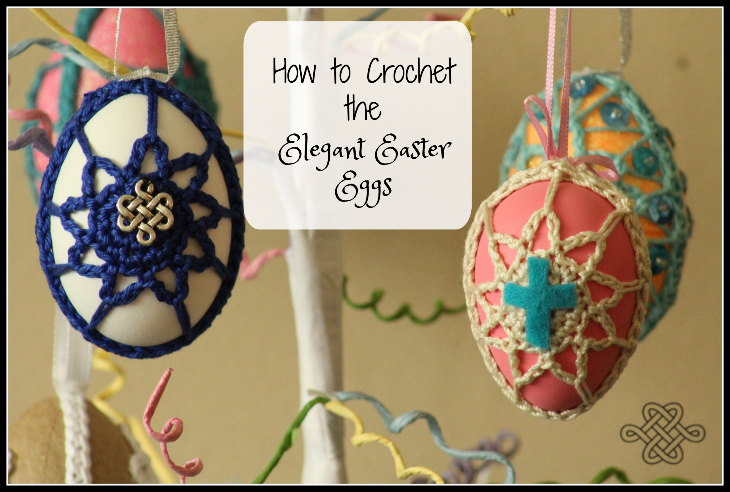 crochet easter egg projects in various colors with thread