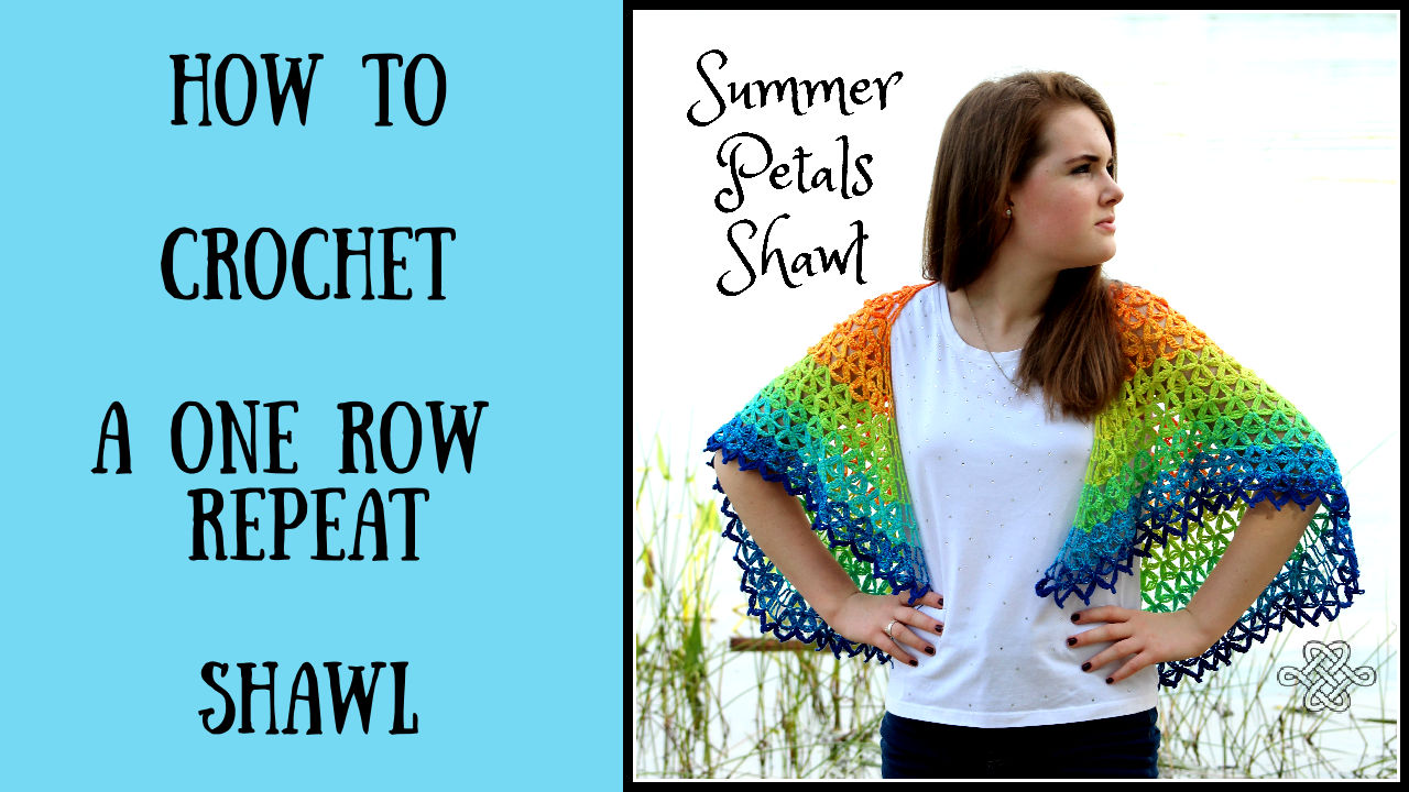 colorful crochet shawl with a one row repeat