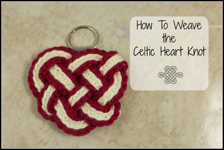 celtic knot heart, red and white, easy crochet project