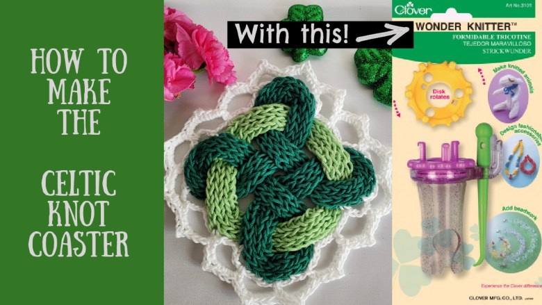 Green woven coaster with Celtic Knot and white edging