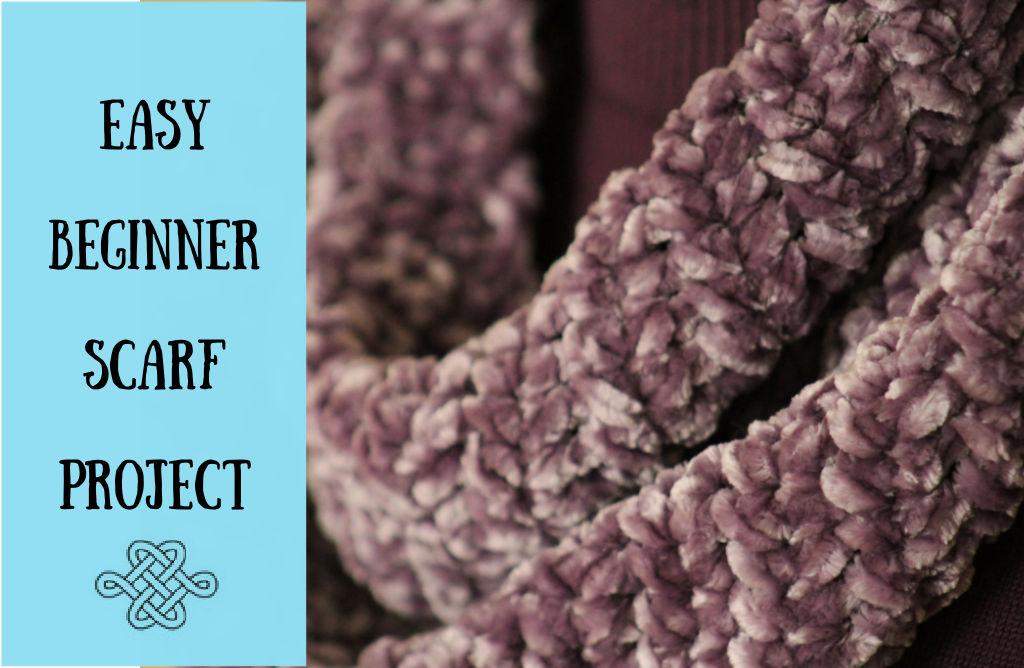 beginner crochet pattern, purple velvet scarf