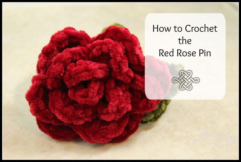 red velvet crocheted rose, easy project