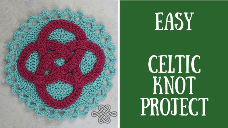 celtic knot, crochet project, easy, magenta and blue
