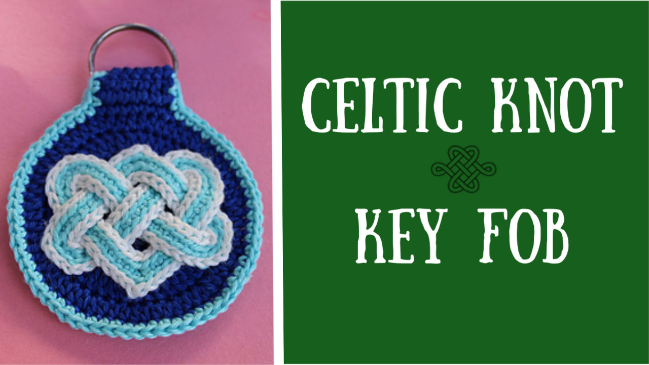 Celtic knot key fob, blue and white, easy crochet project