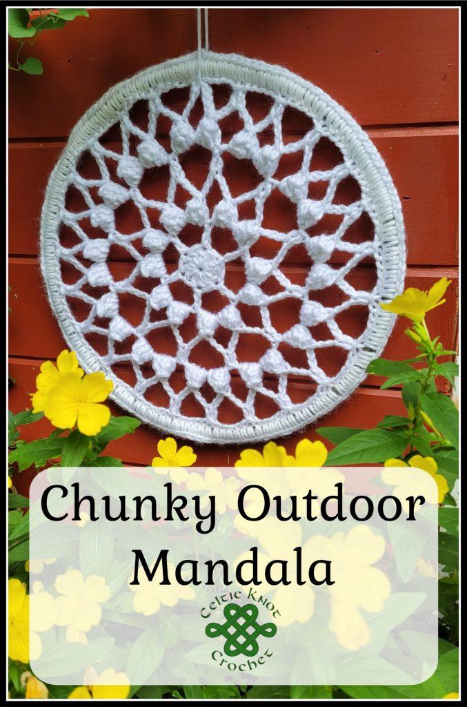 large crocheted mandala in white