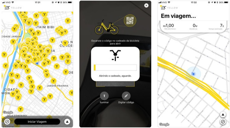 yellow bicicletas mapa
