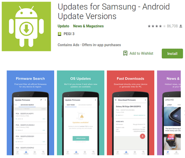 aplicativo updates for samsung