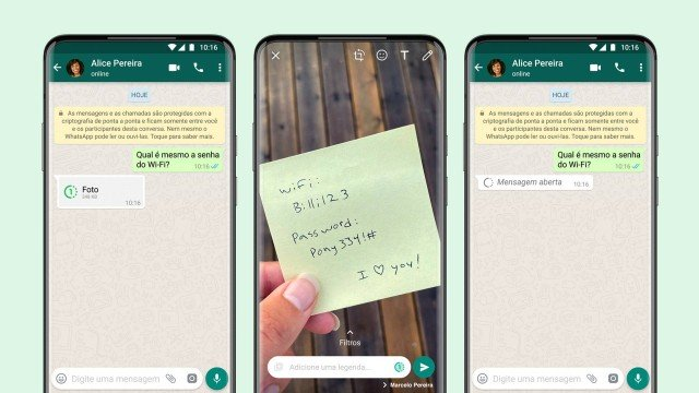 mensagem que desaparece no WhatsApp