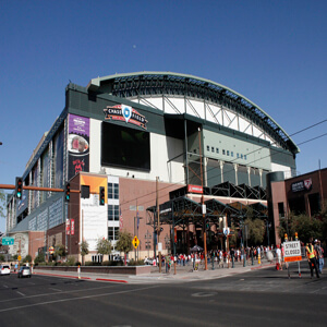 Phoenix, Arizona, USA - June 8, 2014: Chase Field, home of the Arizona Diamondbacks baseball team, in downtown Phoenix, Arizona.
