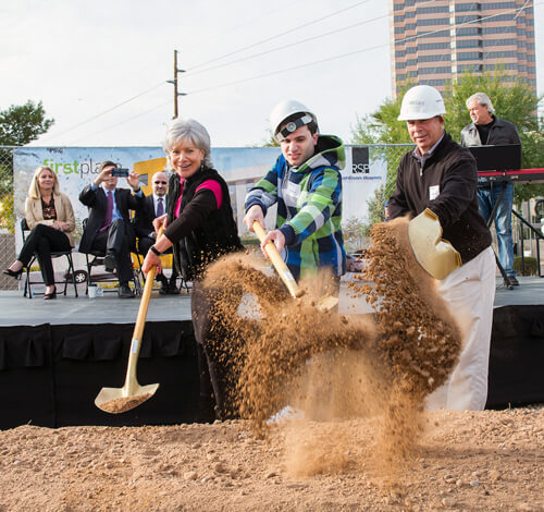 Denise Resnik, First Place Founder, CEO & SARRC Co-founder; her son Matt Resnik; and Rob Resnik, Matt's dad; break ground on First Place-Phoenix. Photo credit: Stephen G. Dreiseszun/Viewpoint Photographers
