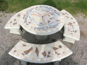 Round Mosaic Patio Table Set