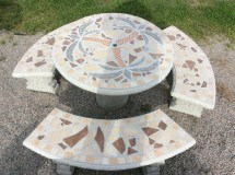 Tbs112 Palm Tree Mosaic Table Set - Cement Barn