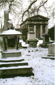 The sarcophagus of Princess Sophia, in front of the Anglican Chapel, from a postcard photo taken by Robert Stephenson