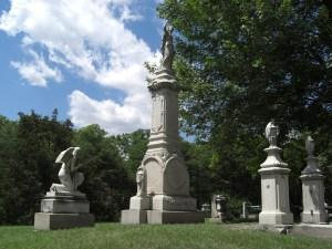 Shrouded granite urns on family plot, Elmwood Cemetery, Detroit