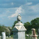 Granite urn atop obelisk, Glen Rock Cemetery, Pennsylvania