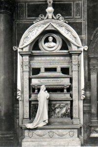 Vintage postcard of Rossini's tomb.
