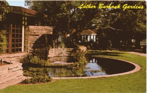 """""""This rock pool is created in memory to the ingenious plant wizard. This memorial is adjacent to Luther Burbank's home and grave."""" Vintage postcard dated 1968.."""