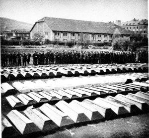 Coffins after the war, awaiting burial.