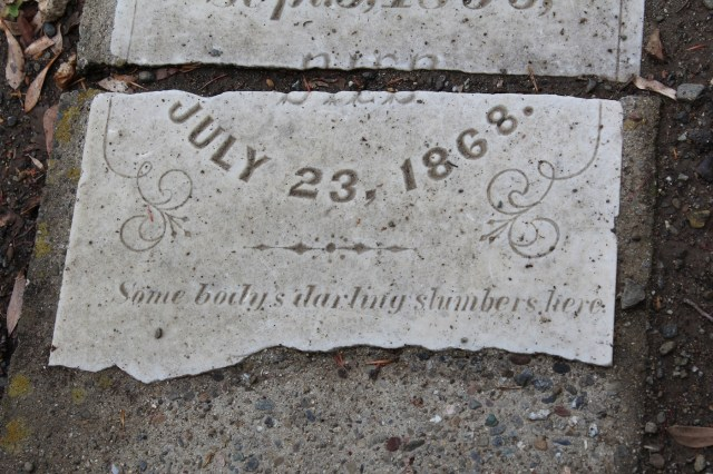 Broken headstone in the Alamo Cemetery, Danville, California
