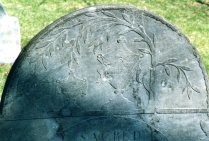 Pair of urns with weeping tree engraved on slate, Central Burying Ground, Boston