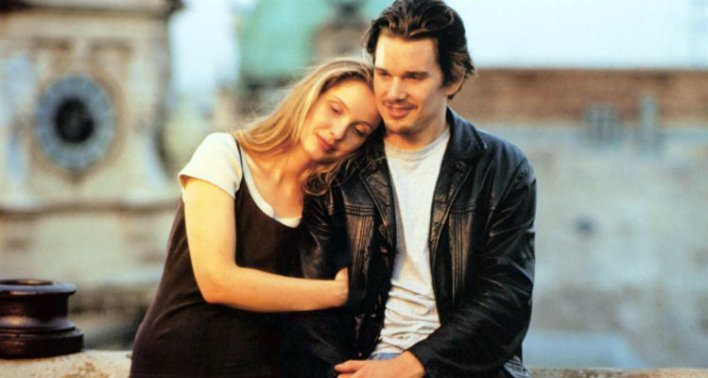 Ethan Hawke e Julie Delpy em Antes do Pôr do Sol (Before Sunrise, 1995)