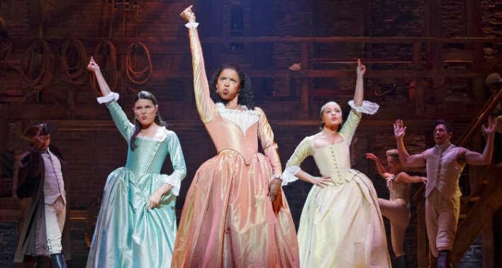 Renée Elise Goldsberry, Jasmine Cephas Jones e Phillipa Soo em Hamilton (2020)