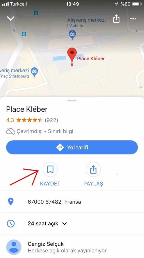 Google haritalarda yer kayıt etmek