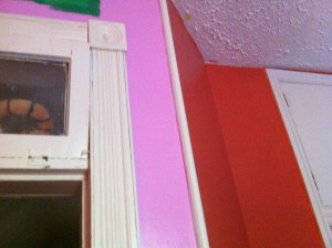 East wall of The Nipper's room. Adobe orange/brick, pink, and a strip of green.