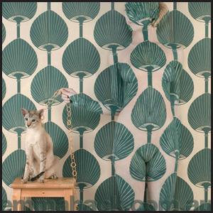 """Wallpaper Kabuki Feline"" by Australian artist Emma Hack. Used with permission. http://www.emmahackartist.com.au"