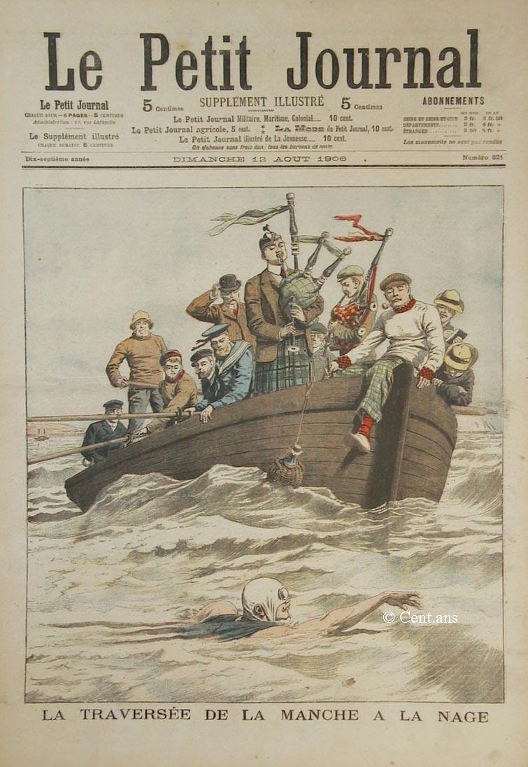 Traversée De La Manche à La Nage : traversée, manche, Petit, Journal,, TRAVERSÉE, MANCHE