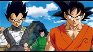 Vegeta and Goku, Master Roshi (FL), Krillin, and Gohan (M)