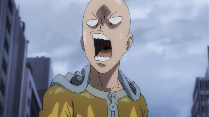 Saitama from One Punch Man annoyed at what he sees. (From Episode 9)