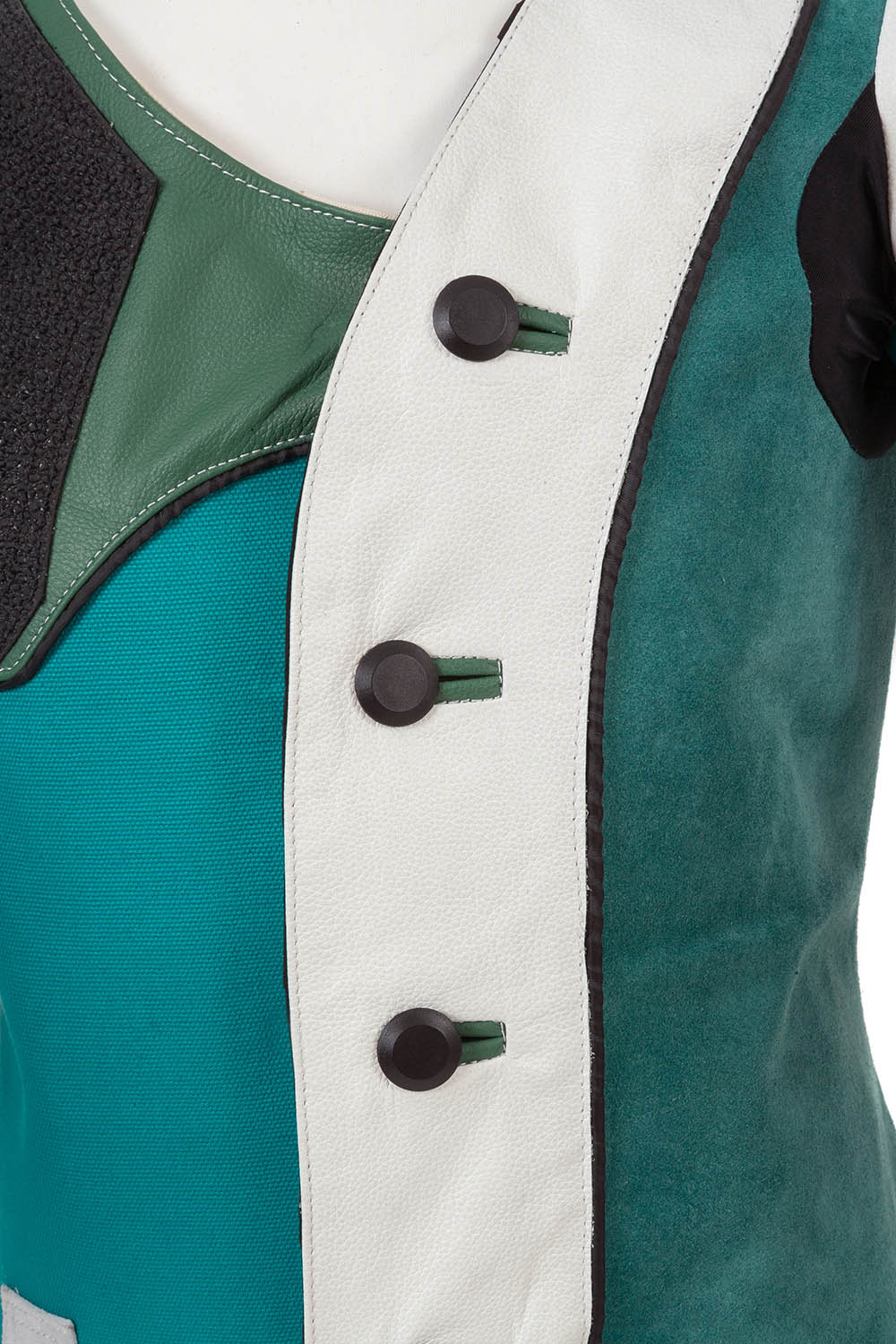 Heavy-duty button fastenings and leather reinforced button holes - Centaur Match 19 Double Canvas and Leather Target Shooting Jacket