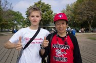 Toronto landlord Jeff Lee with his German exchange student Finn at the Terry Fox Run at Woodbine Beach. (Jospeph Burrell photo)