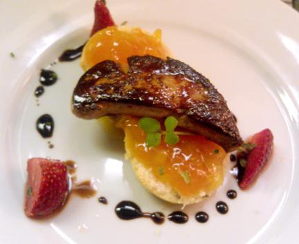 Foie Gras, Lavendar Biscuit, Kumquat Marmalade, Pickled Strawberries