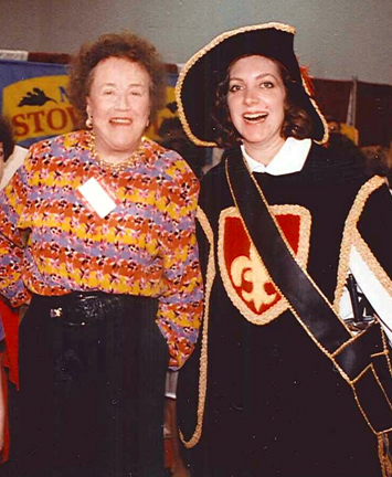 Julia Child and Ariane as a musketeer