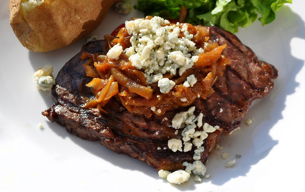 grilled-buffalo-rib-eye-steak-with-onions-and-roquefort-recipe